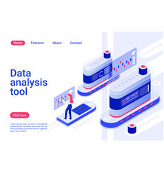 data analytics tool isometric landing page vector image