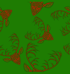 deer heads seamless pattern vector image