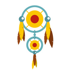 Dreamcatcher with colorful feathers icon isolated vector