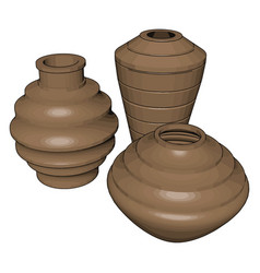 Earthenware on white background vector