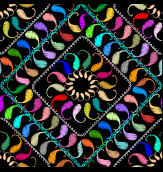 Embroidery paisley seamless pattern ethnic vector