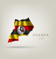 Flag uganda as a country with a shadow vector