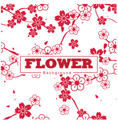flower white and red sakura pattern background vec vector image