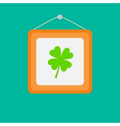 Four leaf clover picture frame on the wall Flat vector image