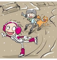 Funny figure skating Girl and boy skating vector