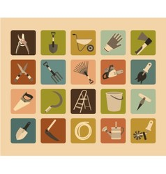 Garden Tools Flat Icon Set vector image
