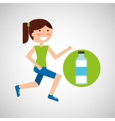 Girl jogger bottle water healthy lifestyle vector