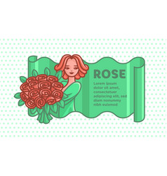 girl with a big bouquet of roses vector image