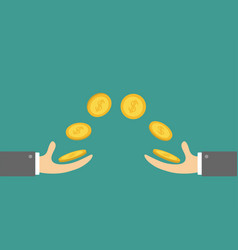 Giving and taking hands flying golden coin money vector