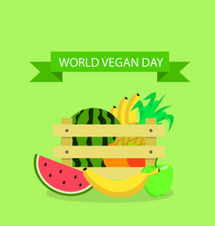 global vegan day concept background flat style vector image