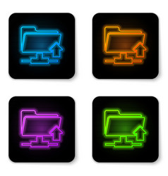 glowing neon ftp folder upload icon on white vector image
