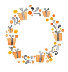 halloween gift box wreath watercolor vector image