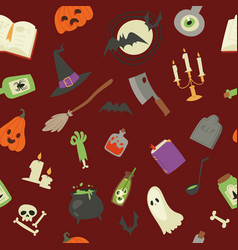 halloween seamless pattern pumpkin ghost vector image