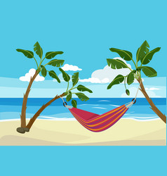 Hammock beach tropical background rest place vector
