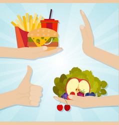 Hands giving junk and healthy eating food choice vector
