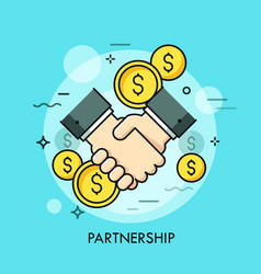 Handshake and dollar coins business partnership vector