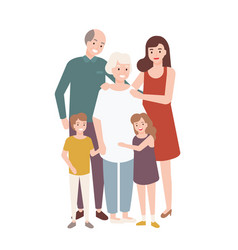 happy family with grandfather grandmother mother vector image