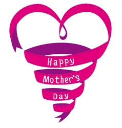 Happy mothers day card heart shaped ribbon vector