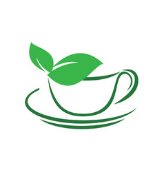 Herbal green tea cup leaves logo vector