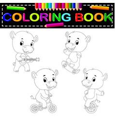 Hippo coloring book vector
