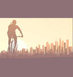 horizontal cyclist rides in big city at sunset vector image