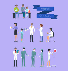 hospital characters collection vector image