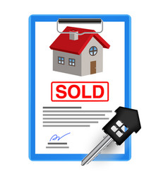 house sale sheet with house key vector image