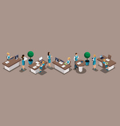 isometric set of bank employees bank managers cl vector image