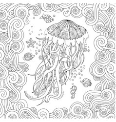 Jellyfish in entangle inspired style on white vector