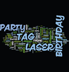 Laser tag birthday party text background word vector
