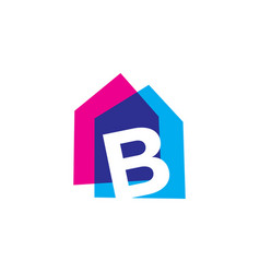 letter b house home overlapping color logo icon vector image
