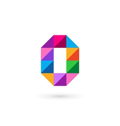 Letter O number 0 mosaic logo icon design template vector image