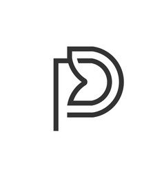 letter pd logo linear art design vector image
