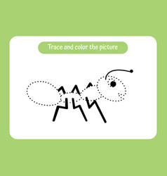 little ant trace and color picture vector image