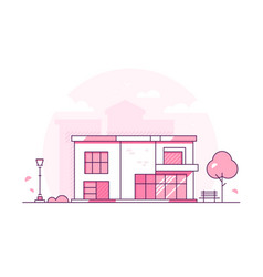 Lovely cottage - modern thin line design style vector