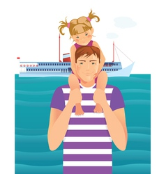Man with little girl vector image