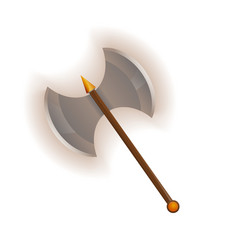 Medieval two blade battle ax icon vector