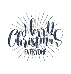 Merry Christmas everyone typography label Retro vector image