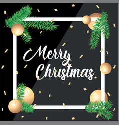 Merry christmas greeting card in square frames and vector