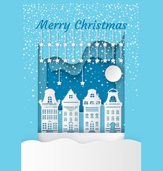 merry christmas white residential buildings vector image