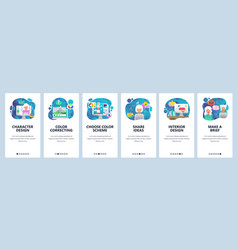 Mobile app onboarding screens design and digital vector