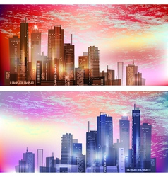 Modern City landscape in sunset vector image