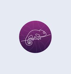 one line chameleon logo vector image