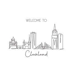 one single line drawing cleveland city skyline vector image