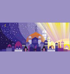 Panorama arabian city vector