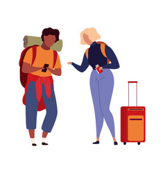 people in airport family travel with luggage vector image