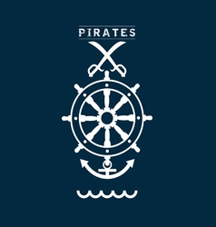 Pirates sign set two on blue vector