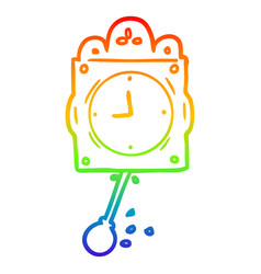 Rainbow gradient line drawing ticking clock with vector