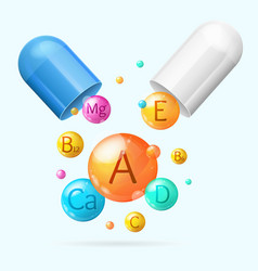 realistic detailed 3d vitamin and mineral with vector image