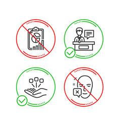 Report consolidation and exhibitors icons set vector